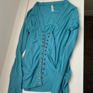 Tiffany Blue Snap Button Cardigan XL